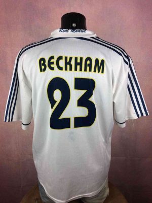 Real Madrid Maillot, FloquéBeckham N°23, Saison 2002 - 2003, Version Home, Sponsor Siemens Mobile, Replica, Made in Italy, Taille XL, Couleur Blanc, Espagne Liga Football Homme