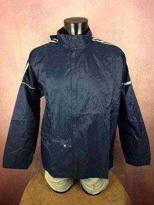 Veste ADIDAS, Véritable vintage années 90s, 3 bandes cousues, Trefoil, Scratch au col, en Nylon, avec capuche, se roule en boule et se porte à la taille, Imperméable Rain Jacket K-Way Sport