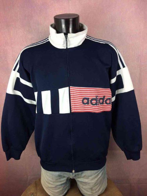 Veste Adidas, Véritable vintage Année 90s, Made in Malaysia, Floqué Orange Basket, Y2K Rave Sport Jogging Jacket Football Homme Unisex