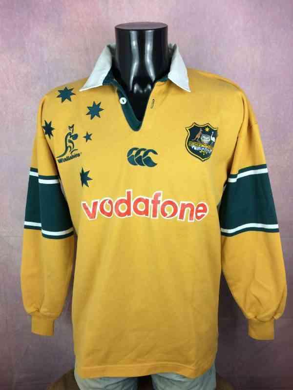 Maillot AUSTRALIA, édition World Cup 2003, modèle Home, de marque Canterbury, Made in Australia, Manches Longues, Véritable vintage années 00,Wallabies, Quinze XV, Jersey Rugby