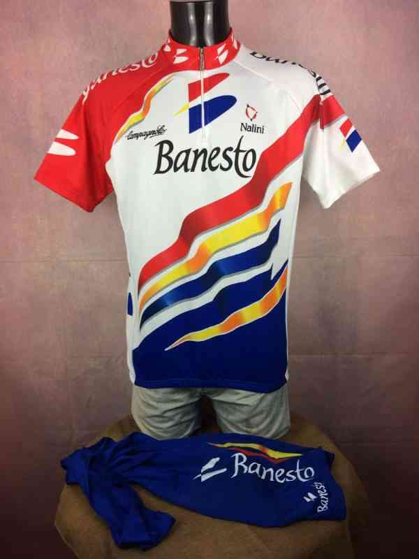 BANESTO Team Maillot Cuissard 1997 Nalini Campagnolo.. 2 - BANESTO Team Maillot + Cuissard 1997 Nalini Campagnolo Vintage 90s Made in Italy Tour de France Cyclisme