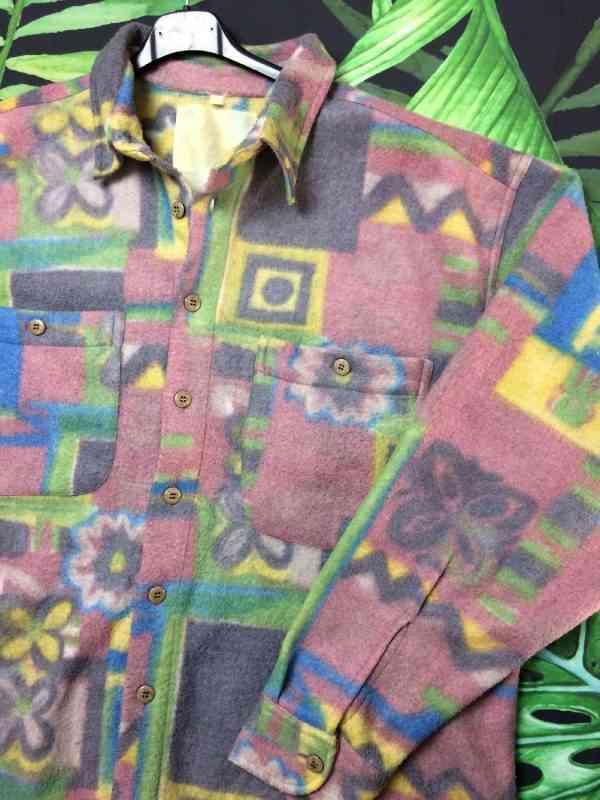 Chemise Polaire Vintage Annees 90s Psyche Design Rave.. 1 - Chemise Polaire Vintage Années 90s Psyche Design Rave Indie Surchemise Unisex