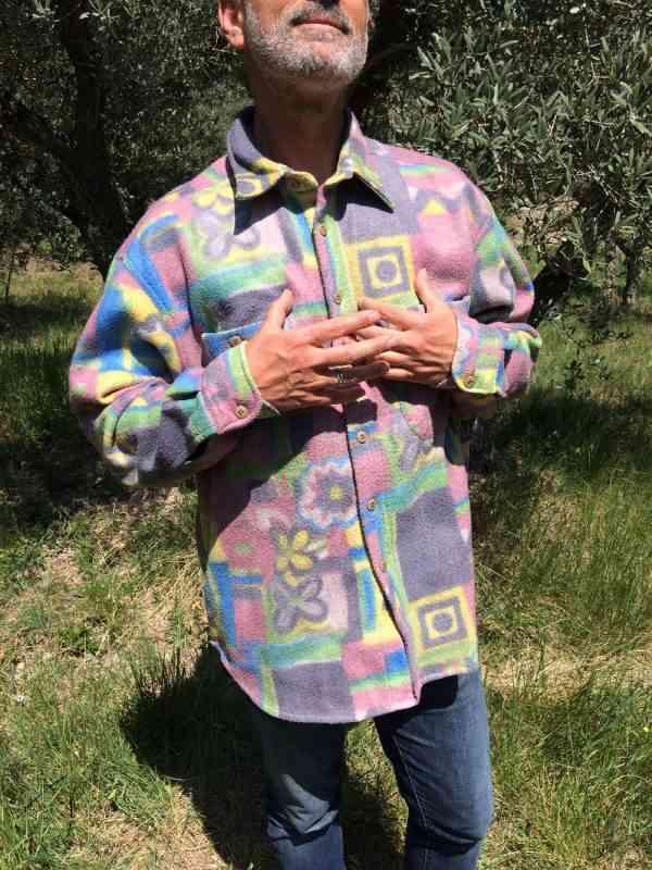 Chemise Polaire, Vintage Véritable années 90s, 100% polyester, Psyche Design Rave Indie Unisex Surchemise