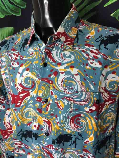 Chemise Provence de marque MISTRAL - Les Indiennes de Nîmes, Feria du Sud Ouest, Boutons Nacres, Vintage Années 00, Gardian Camargue Sud Feria Shirt Homme