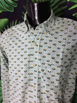 Chemise Provence SOULEIADO, Motif Bleu et Fleurs, Véritable vintage années 90, Made in France, Design Gardian Camargue Sud Feria Shirt