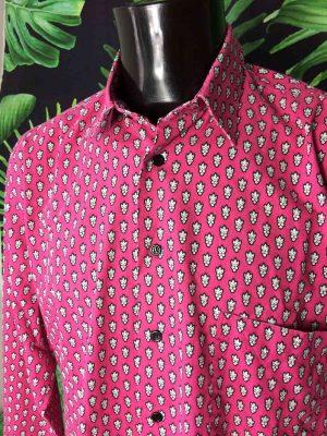 Chemise Provence SOULEIADO, Motif Indiennes Rose et Blanc, Véritable vintage années 90, Made in France, Design Gardian Camargue Sud Feria Shirt