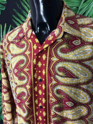 Chemise Provence SOULEIADO, Motif Indiennes, Véritable vintage années 90, Made in France, Design Gardian Camargue Sud Feria Shirt