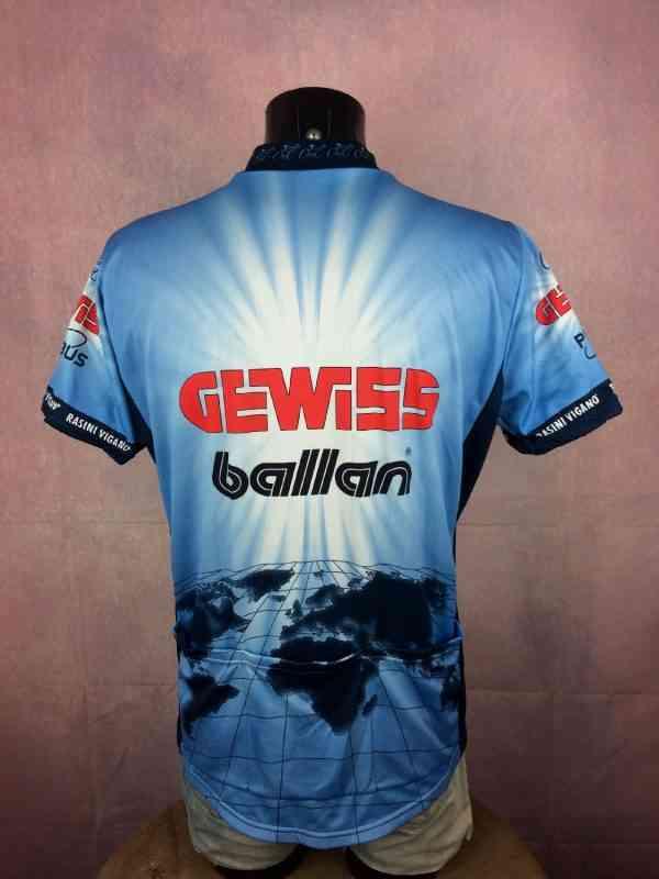 Maillot GEWISS BALLAN Team, Saison 1994 1995, de marque Biemme, Sponsors Playbus Bianchi, Véritable Vintage Années 90, Tour de France, Jersey Camiseta Maglia Cyclisme