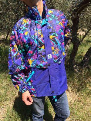 K-WAY, Vintage, Veste Impermeable, Années 90s, Nylon, Capuche, Se roule en boule et se porte à la taille, Design Camouflage Ski Y2K Rave Sport Unisex