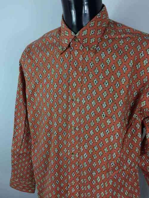 Chemise Provence de marque LES OLIVADES, Made in Provence, Vintage Années 00, Rouge Brique, Gardian Camargue Sud Feria Shirt Homme