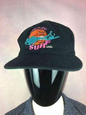 Casquette LONG ISLAND SURF USBL - United States Basketball League, vintage années 90s, Marque Otto Cap, Made in Korea, 15% laine, Cap Gorra Hat TruckerUSA