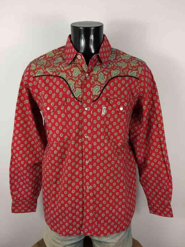 MISTRAL Les Indiennes de Nimes Chemise Provence Rouge 2 - MISTRAL Les Indiennes de Nîmes Chemise Provence Rouge Vintage Années 90 Gardian Camargue Sud Feria Homme