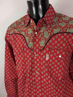 Chemise Provence de marque MISTRAL - Les Indiennes de Nîmes, Rouge, Boutons Nacres, Vintage Années 90, Gardian Camargue Sud Feria Shirt Homme
