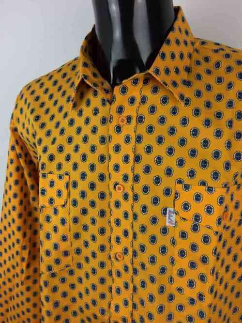MISTRAL Les Indiennes de Nîmes Chemise Provence Vintage Années 90 Jaune et Noir Gardian Camargue Sud Feria Homme