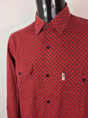 Chemise Provence de marque MISTRAL - Les Indiennes de Nîmes, Rouge Noire, Vintage Années 90, Gardian Camargue Sud Feria Shirt Homme
