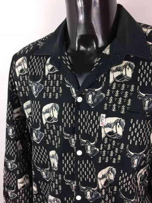 Chemise Provence de marque MISTRAL - Les Indiennes de Nîmes, Série Toro et Chevaux Noir, Vintage Années 90, Gardian Camargue Sud Feria Shirt Homme