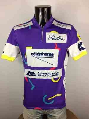 Maillot Cyclisme Luxembourg Berlin August 1993, Véritable vintage années 90s, Marque Free Sport, Sponsor Gales Reuters, Course Homme Cycling
