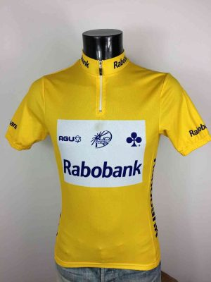 Maillot Jaune Cyclisme, Equipe Rabobank, Année 2007, Marque Agu, Made in Italy, Sponsor Colnago, Logo UCI Pro Tour, Autographes Signatures, Homme Cycling