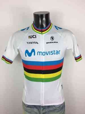 Maillot Movistar Alejandro Valverde, Marque Endura Authentic, Edition World Champion 2019, Label UCI, Neuf avec étiquettes, Made in EU, Jersey World Champion Cyclisme