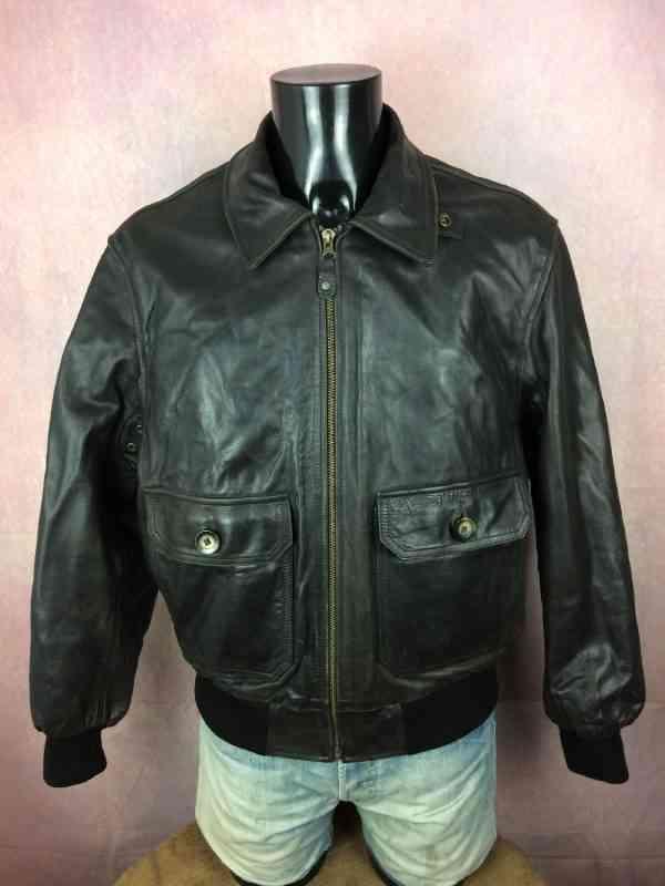 Veste REDSKINS Basic Line 1984, Série Vintage Clothing, Cuir de vachette, Intérieur Doublé, Doublure amovible par zip, Leather Echtes Rock Blouson Homme Jacket