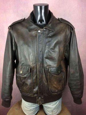 Veste REDSKINS, Cuir Véritable, Doublé, Vintage 80s, Made in France, Leather Echtes Rock Blouson Homme Jacket