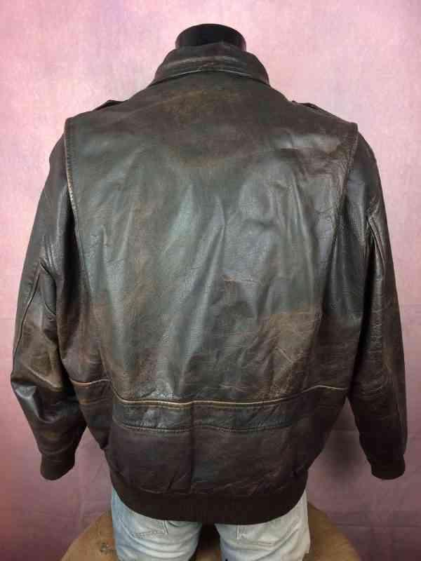 REDSKINS Veste Cuir Veritable Vintage 80s Made in France 7 - REDSKINS Veste Cuir Véritable Vintage 80s Made in France Doublé Old School Rock Blouson Homme