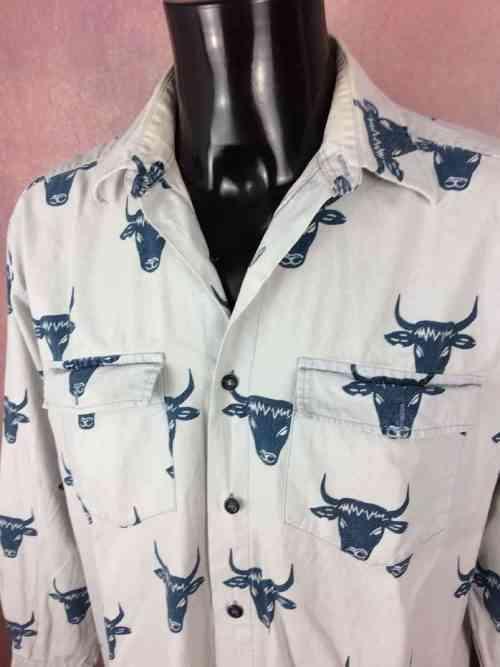 ChemiseProvencede marqueSOULEIADO, Motif Têtes de Taureaux Toro, Véritable vintage années 90, Made in France, Gardian Camargue Sud Feria Shirt
