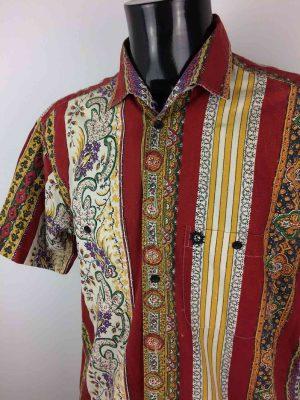 Chemise Provence de marque SOULEIADO, Manches Courtes Homme, Véritable vintage années 90, Gardian Camargue Sud Feria Shirt