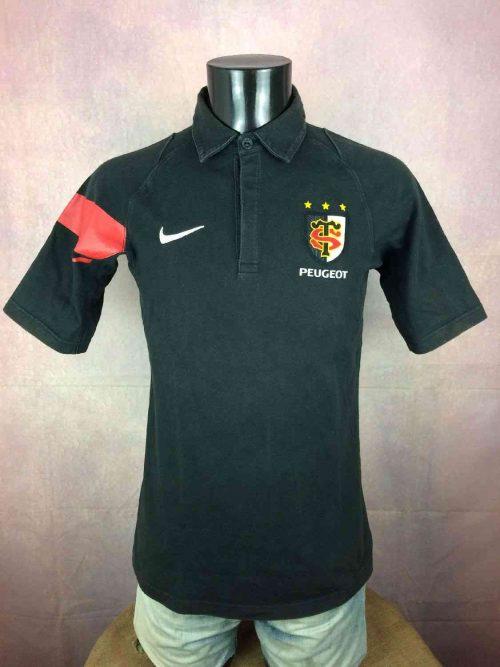 Maillot STADE TOULOUSAIN, Polo, modèle Home, de marque Nike, Sponsor Peugeot, Manches courtes, Toulouse XV Top 14 Quinze France, Jersey Rugby