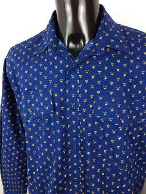 Chemise Provence de marque Valdrôme, Made in France, Vintage Années 90, Bleu et Jaune, Trident, Gardian Camargue Sud Feria Shirt Homme