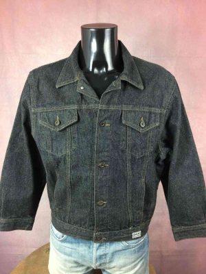 Veste Jeans GABLAN, Vintage Année 80, Made in France, Noir, Modèle Billy, Denim Trucker Rock Jacket Chaqueta Femme