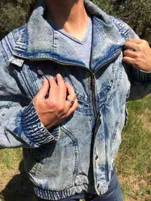 Veste Jeans Vintage, Marque OAK'S, Années 80s, Intérieur doublé, Jeans Neige, Denim Old School Jacket Homme