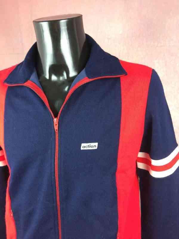 Veste Jogging ACTION, Véritable vintage années 70s, Made in Italy, Sport Ski Football Modèle Homme