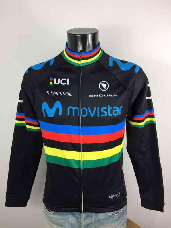 Veste World Champion Movistar, Sponsors O2 et Canyon, Logo Endura, Abarca Sports 2018 et UCI, Marque Cycling, Neuf avec étiquettes Homme Cyclisme