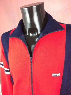 Veste Jogging ACTION, Véritable vintage années 70s, Made in Italy, Sport Ski Football Modèle Homme Rouge