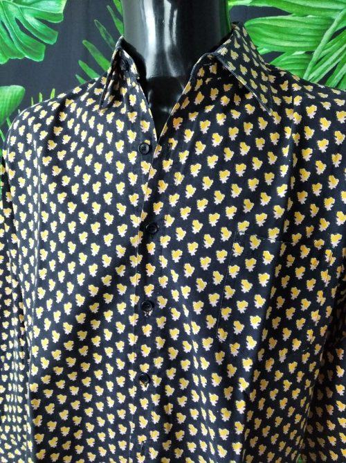 Chemise Provence SOULEIADO, Véritable Vintage Années 80, Made in France, Motifs Fleurs Jaune, Gardian Camargue Sud Feria Shirt Homme
