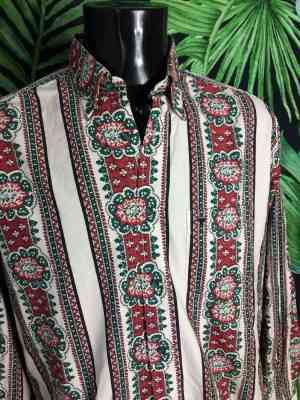 Chemise Provence SOULEIADO, Véritable Vintage Années 90, Made in France, Motifs Indiennes, Gardian Camargue Sud Feria Shirt Homme
