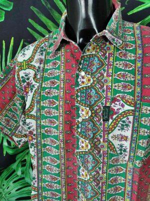 Chemise Provence ATELIER PROVENÇAL, Véritable vintage années 90, Indiennes Vert et Rouge, Fermeture par Boutons Nacres, Gardian Camargue Sud Feria Shirt Homme