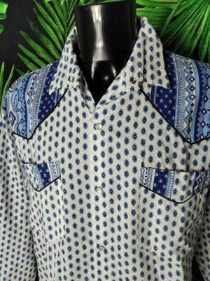Chemise Provence Vintage, Années 90s, Made in France, Couleur Blanc Empiècements Bleu, Boutons Nacres, Gardian Camargue Sud Feria Shirt Homme