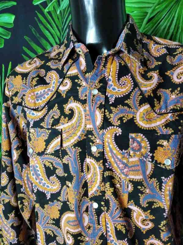 Chemise Provence Vintage, Motif Indiennes Psyché, Véritable années 90, Fermeture par Boutons Nacres, Gardian Camargue Sud Feria Rock Shirt Homme
