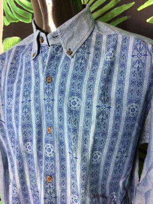 Chemise Provence de marque LES OLIVADES, Made in Provence, Vintage Années 90, Made in France, Couleur Bleu, Gardian Camargue Sud Feria Shirt Homme