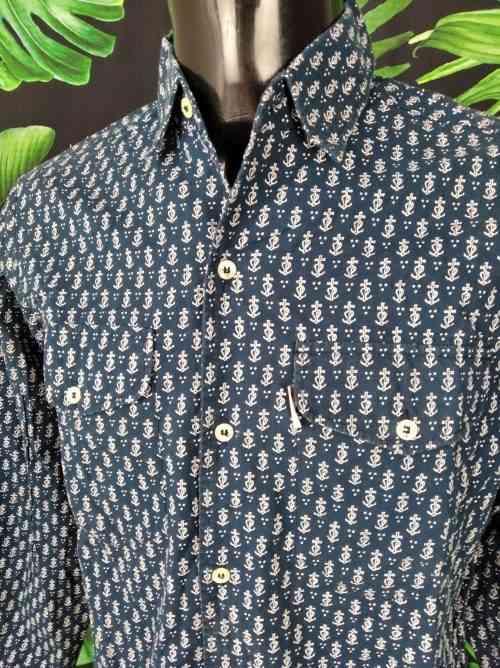 Chemise Provence Vintage, de marque MISTRAL - Les Indiennes de Nîmes, Modèle Croix de Camargue, Années 90, Gardian Sud Feria Shirt Homme
