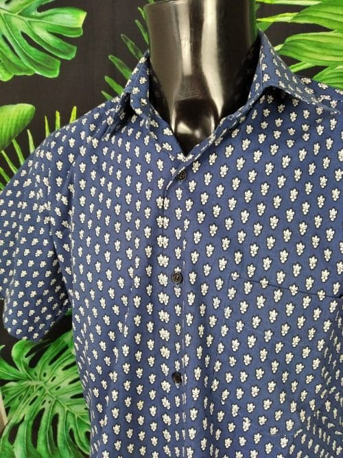 Chemise Provence SOULEIADO, Motif Indiennes Bleu et Blanc, Véritable vintage années 90, Made in France, Design Gardian Camargue Sud Feria Shirt