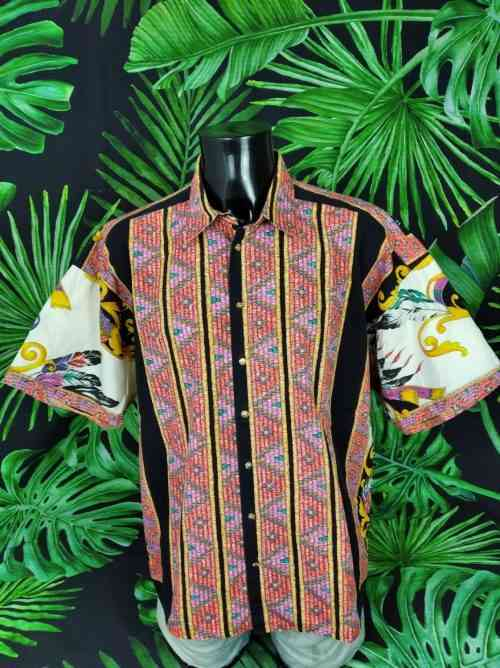 Chemise Vintage Années 90 Versace Style Boutons Or Indiennes Plumes Homme