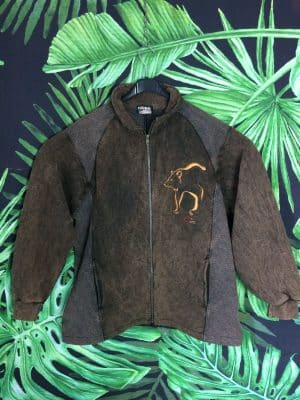 Veste English Bay, Vintage Années 90, Made in Canada, Marron, Taille L, Zip total, Poches, Ours Sportwear Unisexe