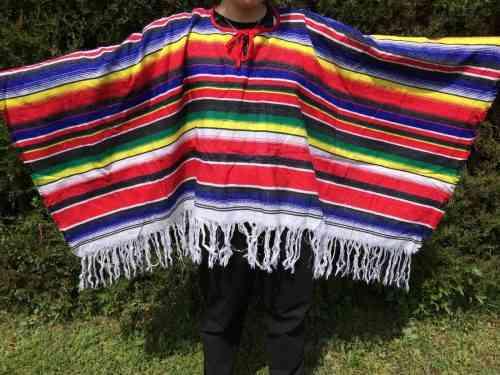 Poncho multicolore, Modèle Court à Franges, Arc en Ciel, Femme