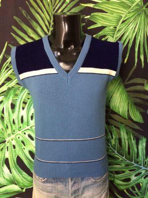 Pull Sans Manches, Vintage Années 80s, Made in Italy, Taille L, Couleur Bleu, Pullover Débardeur Homme