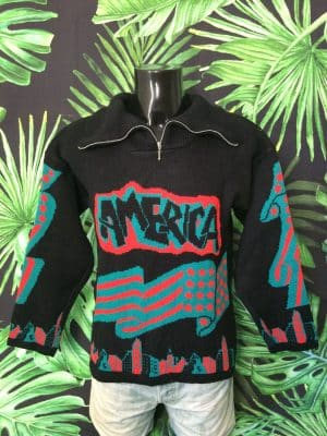 Pull Vintage All Over, Véritable Années 90s, Série America USA NY, Col Camionneur, Made in France, 20% laine, Taille M, Couleur Noir - Vert - Rouge, Pullover Homme
