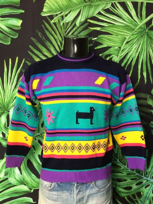 Pull Vintage Années 80s, Made in Maroc, Taille M, Couleur Multicolore, Pullover Unisexe