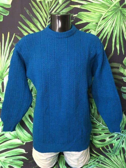 Pull Vintage Benetton, Véritable Années 80s, Made in Italy, Shetland Wool, Taille L, Couleur Bleu, Laine Pullover Homme